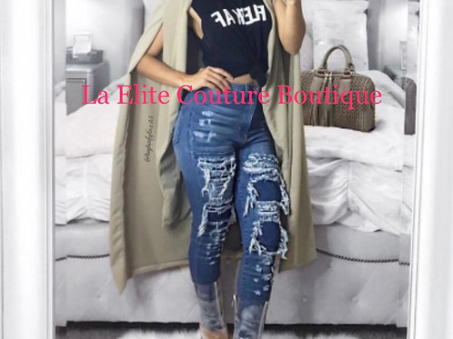Sexy High Waist Ripped Jeans