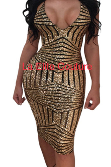 Monifa Gold Black Back out BodyCon Dress
