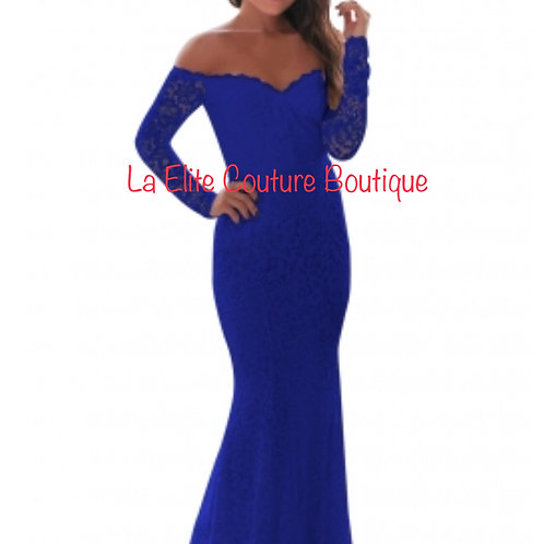 Blue Long Sleeve off Shoulder Lace Gown