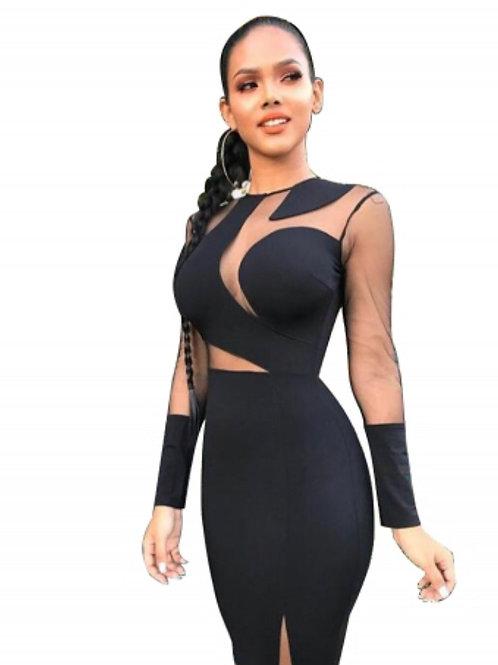 Black long sleeve BodyCon club dress