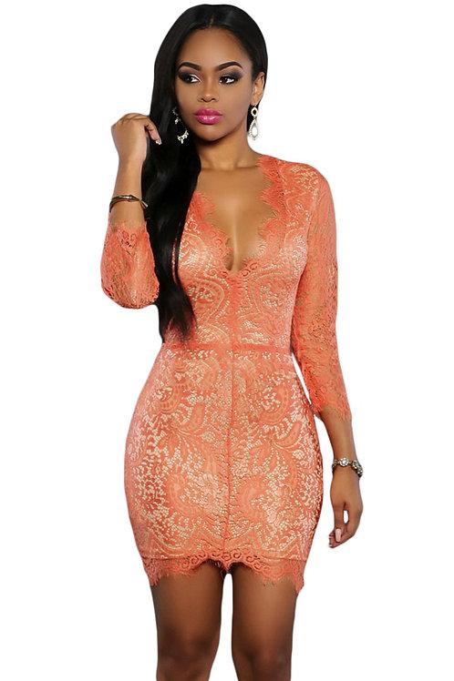 Orange Lace Nude Mini Dress