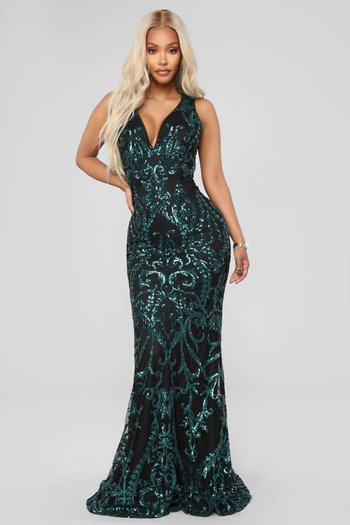 Sequin long evening dress