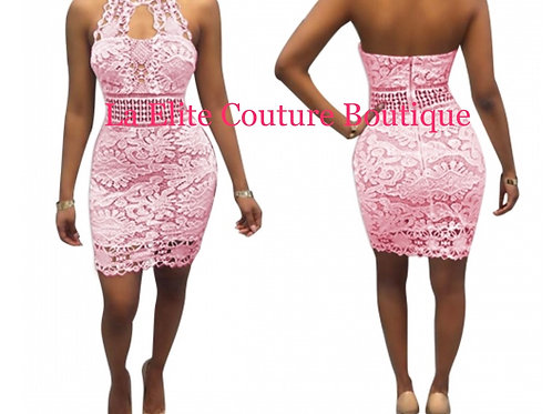 Crochet Pink Lace Halter Dress