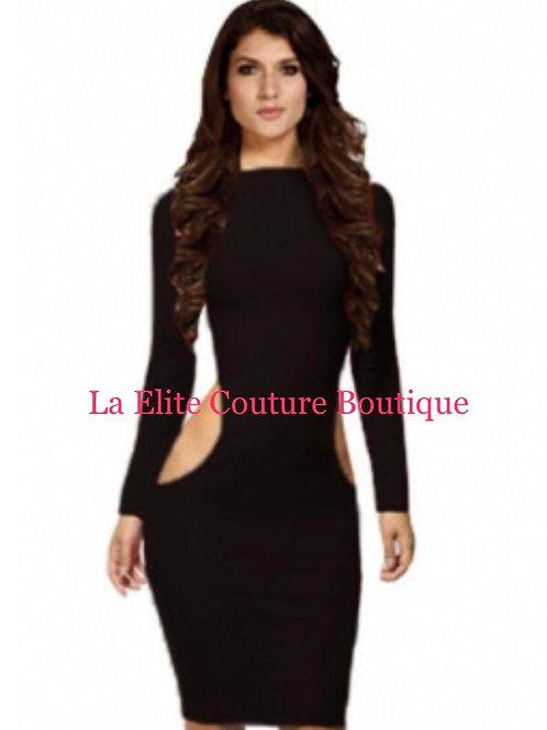 Bodycon black cut out midi dress
