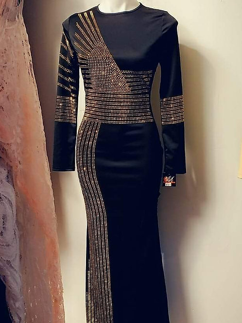 Stunning Gold Black Rhinestone long dress