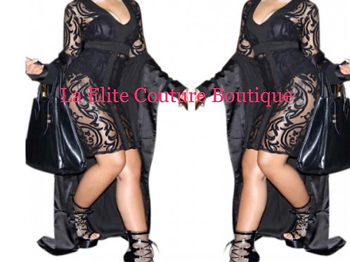 See Through Black Lace Party Dress