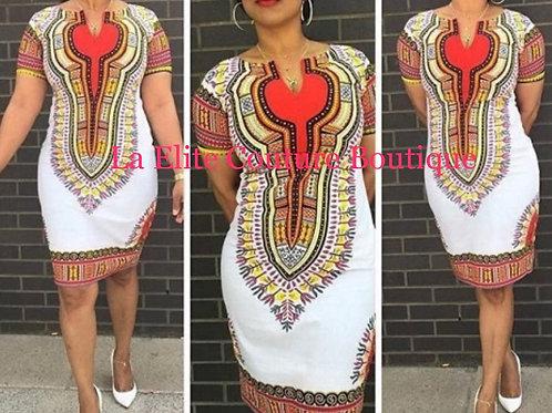 White Dashiki Bodycon Dress