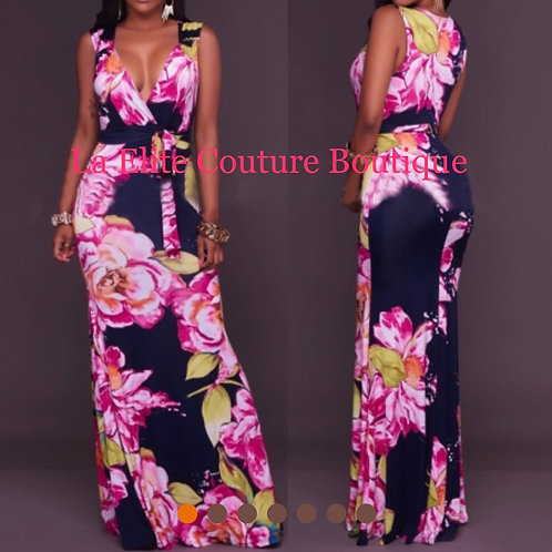 Flower Print Twist Maxi Dress with WaistBand