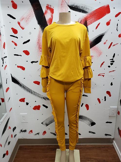 Mustard long sleeve ruffle pants two piece