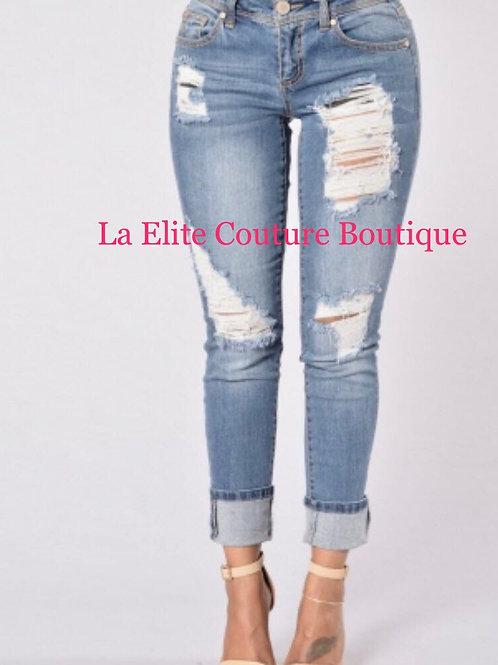 Cut-Out Fringe High Waist Strech Jeans