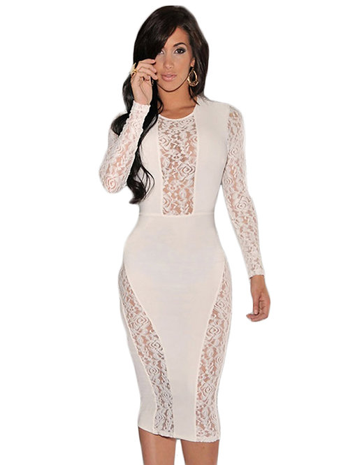 White Lace Accent Party Midi Dress