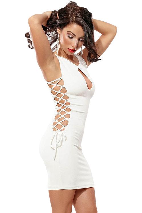 White Lace up Bodycon Mini Dress