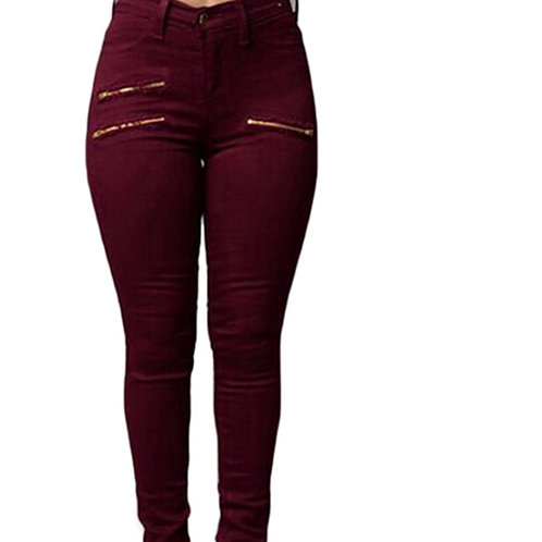 Red mid waist soft fitting jeans