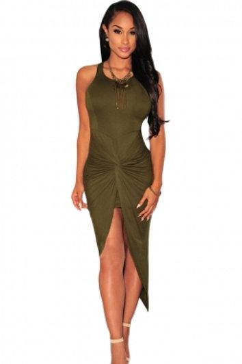 Olive Knotted Slit Dress