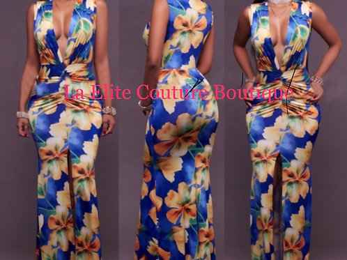 V Floral Blue Long Gown with Front Split