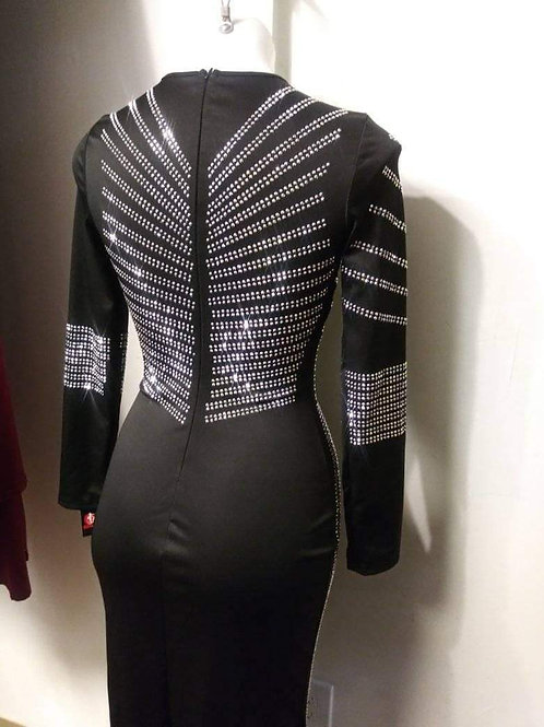 Stunning Black Silver Rhinestone long dress