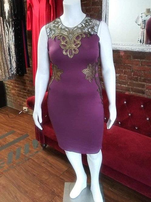 Monica Gold/Purple dress