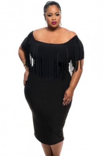 Black Short Sleeve Fringe Top  Dress