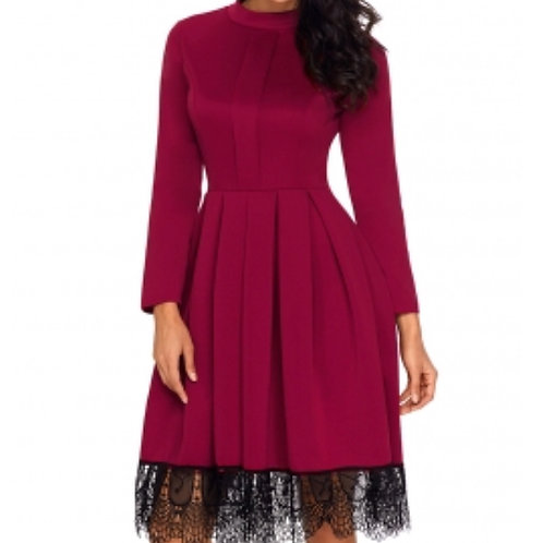 Wine Red long sleeve skater dress