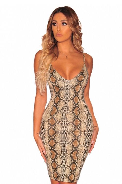 Snake Print Spaghetti Straps Padded Dress