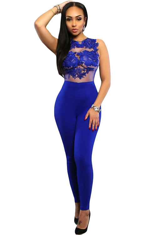 Royal Blue Mesh Lace Applique Jumpsuit