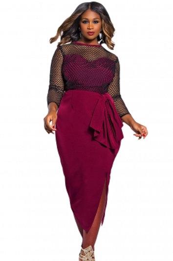 Premium Fishnet Curvy Midi Dress