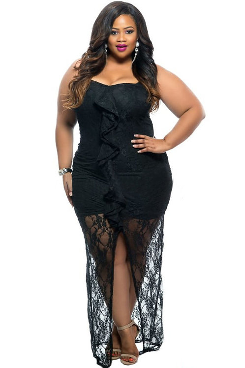 Black Ruffle Detail Strapless Curvy Lace Dress
