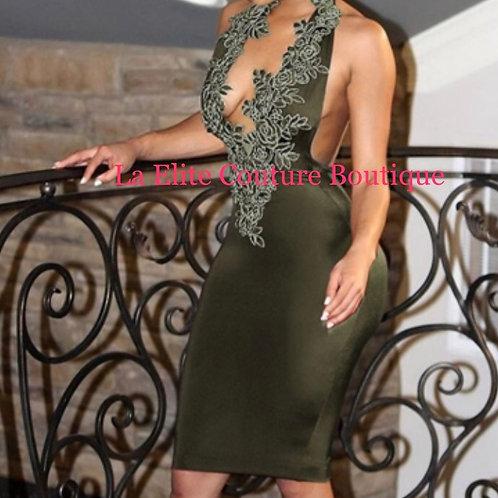 Green Floral Applique Halter Bodycon Dress
