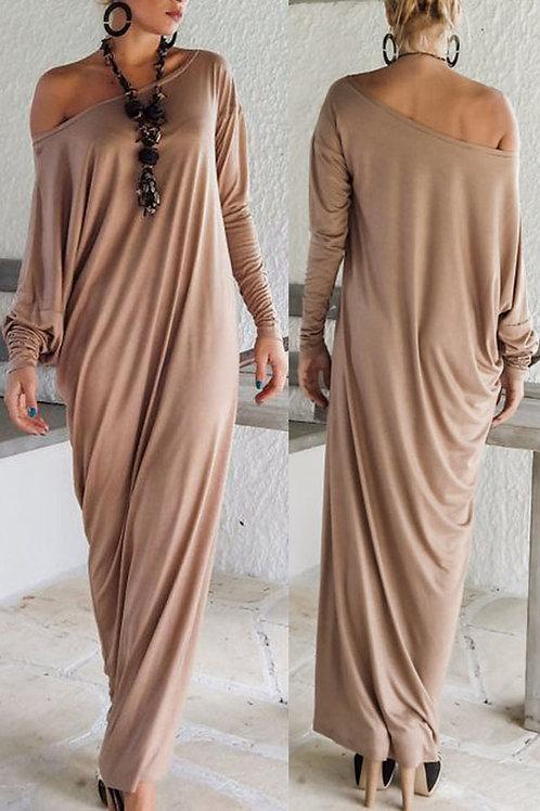 Khaki Athene Style Elegant Jersey Maxi Dress