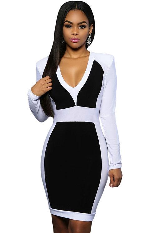 Black White Color Block Long Sleeve Midi Dress