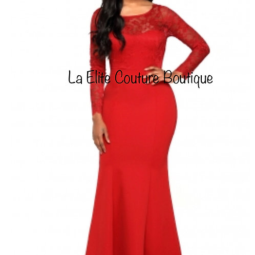 Red Long Sleeve V Cut Back Elegant Gown