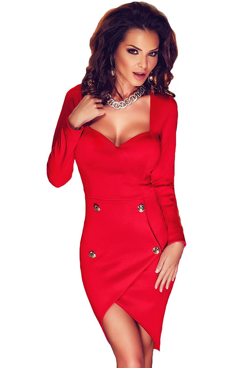 Red Open Back Button Bodycon Dress