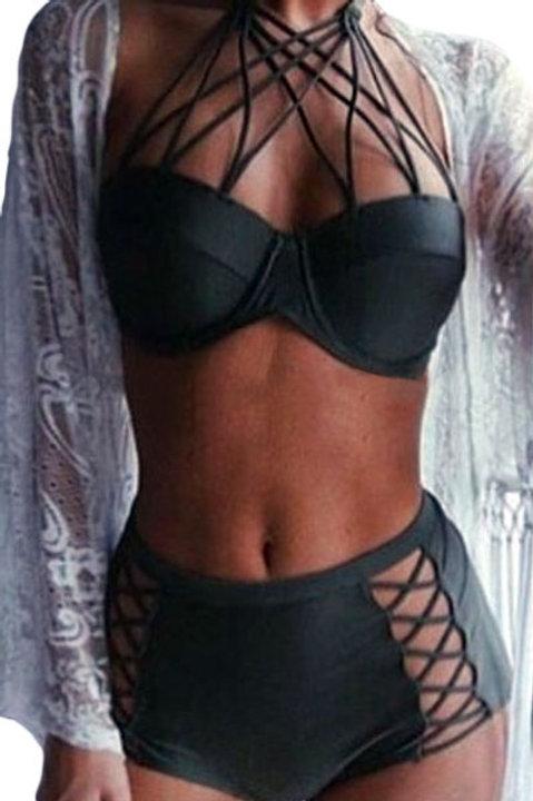Strappy Push-up High Waist Bikini Swimsuit