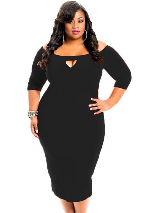 Black Plus Size Bodycon 3/4 Length Sleeve with Key