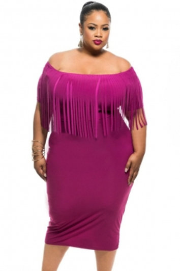 Rosy Short Sleeve Fringe Top  Dress
