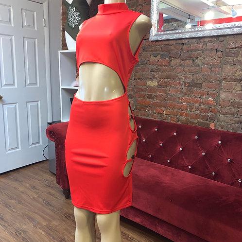 NiFa Red cut out midi dress