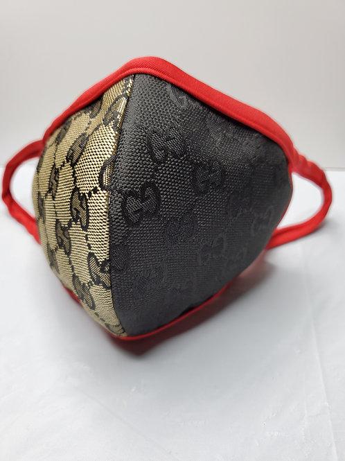 Face Mask Khaki/Black red trim GG Insipire