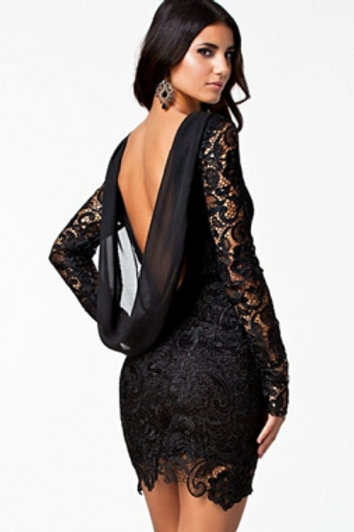 Black Crochet Open Back Vintage Dress