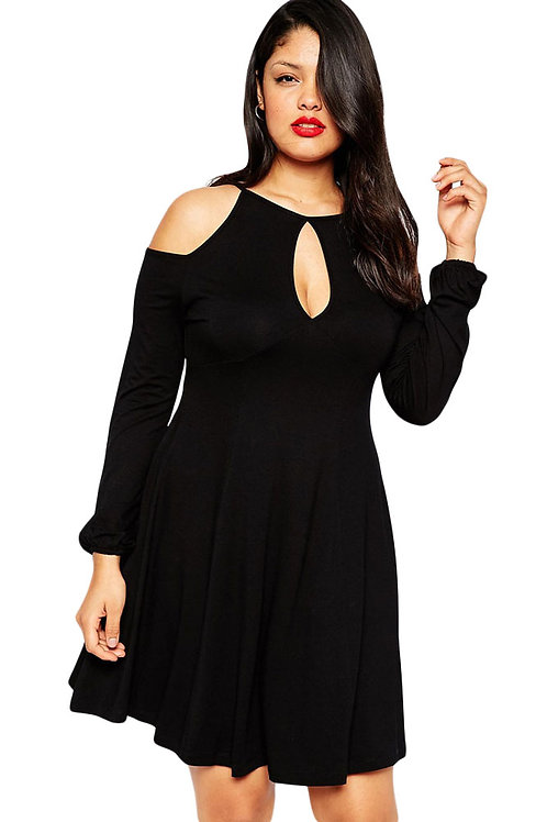 Long Sleeve Cold Shoulder Skater Dress