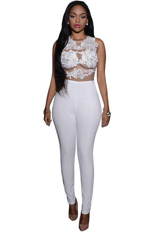 White Mesh Lace Applique Jumpsuit