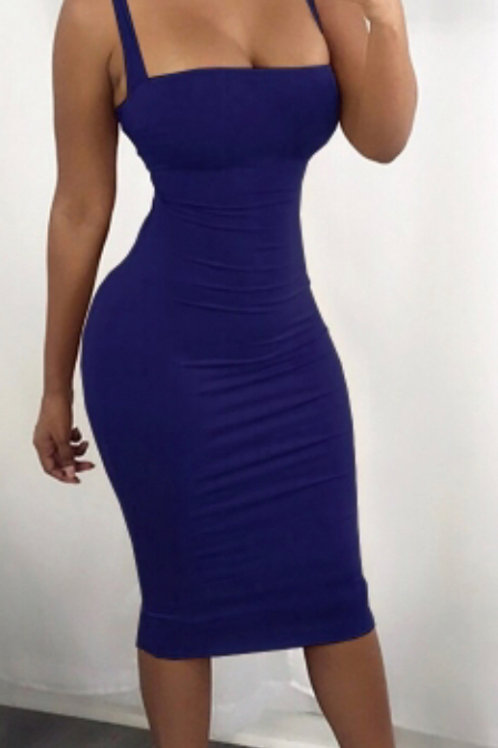 Slimming sexy blue dress