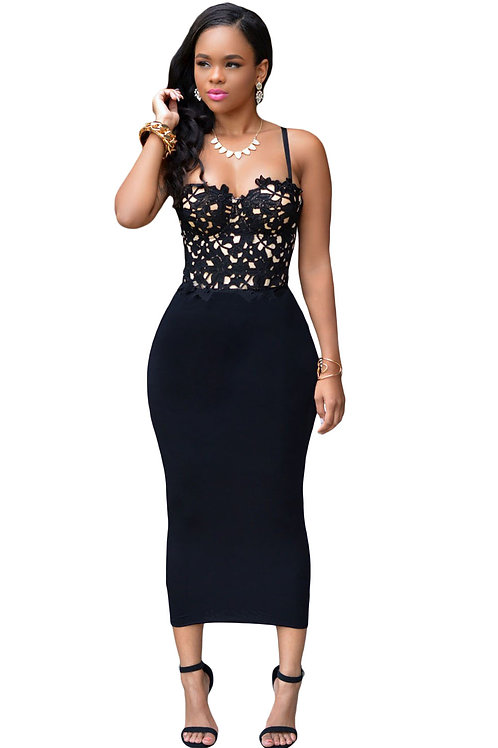 Bustier Lace Top Bodycon Dress