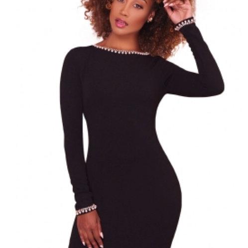 Perl Black BodyCon Dress