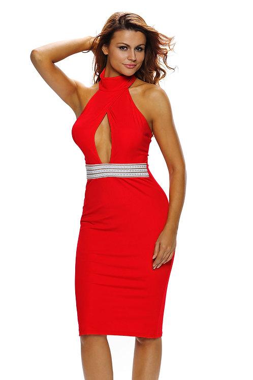 Jeweled Waist Halter Red Dress