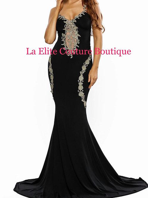 Lace Applique Mermaid Dress