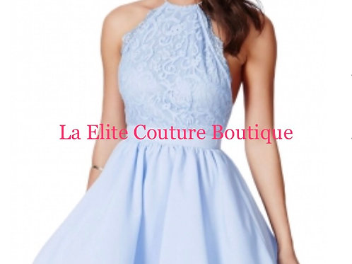 Baby Blue Cross Back Lace Detail Dress