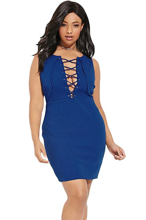 Plus Size Lace-up Sheath Dress
