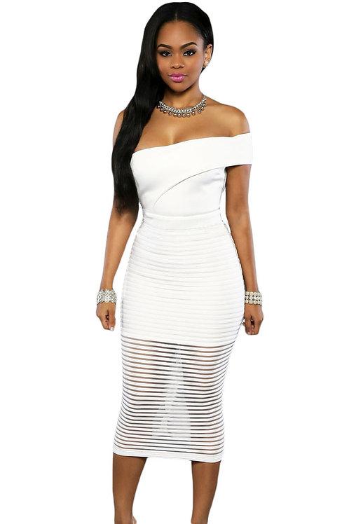 White Single Shoulder Sheer Striped Midi Dress