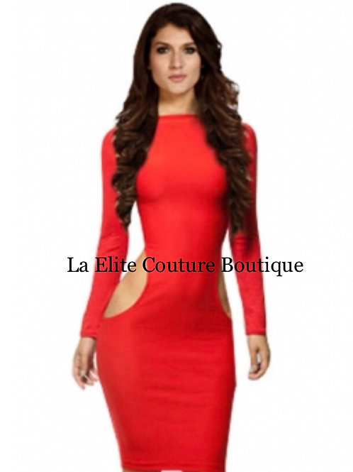 Red Bodycon club cut out dress