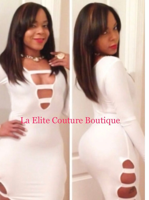 White Sexy Cut-Out Long Sleeves Party Bodycon Dres